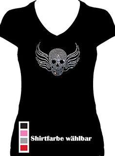 Skull Shirt V-Neck Strass - BlingelingShirts - Totenkopf mit Flügel big