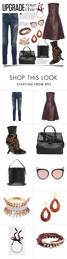 """""""Leatherette"""" by justinallison ❤ liked on Polyvore featuring Pierre Balmain, Alexander McQueen, Tom Ford, Versace, Kenzo, Stephane + Christian, FerrariFirenze, Lizzie Fortunato, Chan Luu and Kendra Scott"""