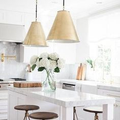 Brass Island Pendants with Wood and Brass Bar Stools