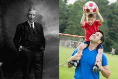 diptych of John D. Rockefeller with modern soccer dad