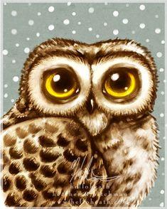 Winter Owl Big Eyes, Digital Art Print by Heather Hitchman-Lambert