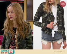 Maya's studded camo jacket and gold sequin scarf on Girl Meets World.  Outfit Details: https://wornontv.net/34232/ #GirlMeetsWorld