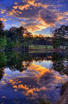 sunset over pond