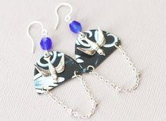 Cobalt Blue Silver Bird Charm Earrings with by MusingTreeStudios