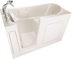 "American Standard 3060.509.CL Value 60"" Acrylic Walk-In Air / Whirlpool Bathtub Linen walk in tub Air / Whirlpool Alcove #WhirlpoolBathtubs"