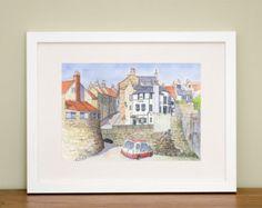 Robin Hoods Bay - Watercolour - North Yorkshire - Coastal Art - Seaside - British Seaside