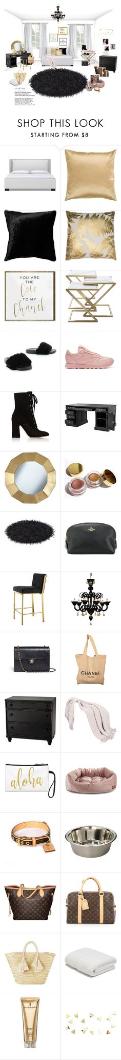 """""""My room!✨ (Update)"""" by queen-bellaa ❤ liked on Polyvore featuring Surya, Squarefeathers, Oliver Gal Artist Co., Reebok, Gianvito Rossi, Eichholtz, Universal Lighting and Decor, Kylie Cosmetics, Coach and Chanel"""