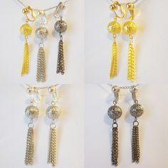 CLIP ON 2 inch Chain Tassel Filigree Gold/Silver/Gunmetal Earrings Choose Color #DropDangle #tasselchainearrings #cliponearrings