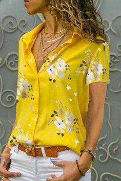 New Women's Chiffon V Neck Blouse Floral Print Summer Casual Beach Wear