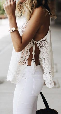side tie top. white jeans. summer street style.