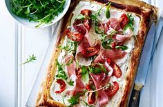 Cheese, tomato and proscuitto ham tart