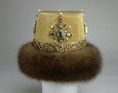 Crown of Czar Nicholas II, Russia (1903; cloth of gold, enamel, precious gemstones, pearls, fur). Made to wear at a costume ball. Nicholas dressed as Czar Alexis I.