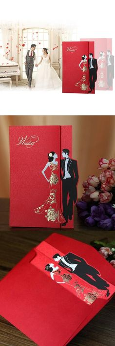 (50 pieces/lot)Chinese Style Groom and Bride Engagement Invitation Card Vintage Free Personalized Wedding Invitation Cards