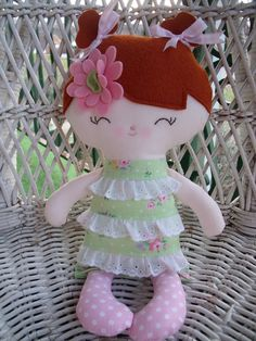 Custom made sweet little doll all ready to surprise someone special on Christmas morning.