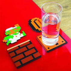 Mario Coasters! SUPER TABLE PROTECTION First he was saving princesses now he s saving surfaces! Protect your tables desk and other surfaces with the help of...