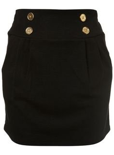 high-waisted skirt with gold buttons & flat front pleats