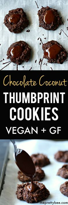 These rich chocolate coconut thumbprint cookies are grain free, vegan, and deliciously decadent! // The Pretty Bee -- Gluten Free Cookies, Gluten Free Desserts, Dairy Free Recipes, Vegan Desserts, Delicious Desserts, Vegan Recipes, Paleo Cookies, Vegan Appetizers, Vegan Food
