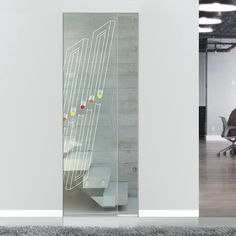 Eclisse Sorad Murano Design on Clear or Satin Glass Pocket Door. Glass Pocket Doors, Glass Door, Glass Art, Architrave, Murano Glass, Creative Design, Satin, Storage, Interior