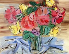 Bouquet of Roses Artwork by Raoul Dufy Hand-painted and Art Prints on canvas for sale,you can custom the size and frame