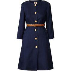 Orla Kiely Basketweave Coat (965 RON) ❤ liked on Polyvore featuring outerwear, coats, coats & jackets, dresses, jackets, navy, genuine leather coat, lightweight coat, blue leather coat and orla kiely coat