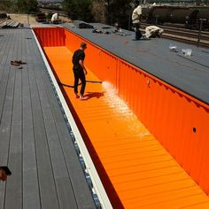 Shipping container swimming pool being filled!