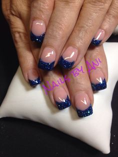 Blue French tip nails