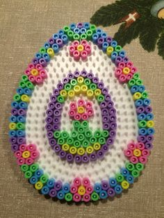 Flower Easter egg hama perler beads by Julie Loose