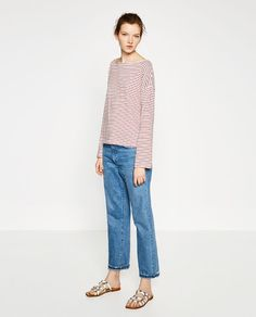 Image 1 of STRIPED BOATNECK TOP from Zara