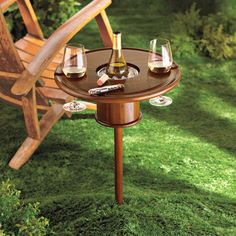 The Staked Mahogany Lawn Table Lets You Chill Alcoholic Beverages trendhunter.com