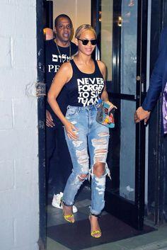 Beyonce makes ripped jeans and a tank top fierce high fashion! Beyoncé's 66 fiercest looks