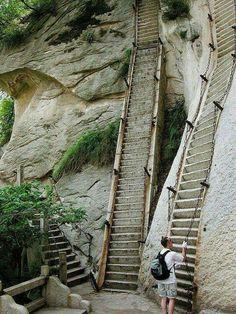 Los Baños Públicos están Arriba aHaushan mountain starways, China