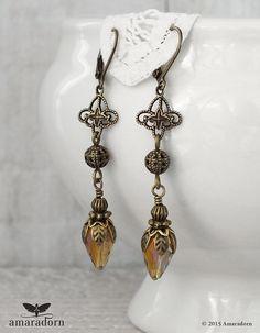 Long Amber Crystal Earrings Art Nouveau Inspired by Amaradorn
