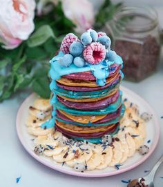 Food, Food, and more Food Cute Food, Good Food, Yummy Food, Cupcakes, Dessert Drinks, Dessert Recipes, Happy Pancake Day, Rainbow Pancakes, Crepes And Waffles