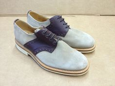 Mark McNairy - Suede & Grained Leather Saddle Shoes with Danite Soles (Beige with Dark Brown)