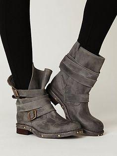 grey slouchy biker boots