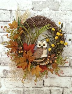 Owl+Wreath+Fall+Wreath+for+Door+Autumn+Wreath+by+AdorabellaWreaths,+$165.00