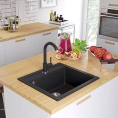 IN STOCK: best prices on Granite Kitchen Sink Single Basin Black - choose between 40 Single bowl sink Kitchen Colors, Kitchen Decor, Debris Removal, Granite Kitchen Sinks, Black Sink, Single Bowl Sink, Kitchen Utilities, Utility Sink, Plumbing Fixtures