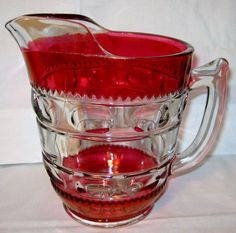 Tiffin Kings Crown Water Pitcher Ruby Flashed, Thumbprint
