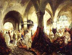 Arabian carpet market paint by the Belgian artist Gustave Flasschoen (1868-1940) - Style:Orientalism