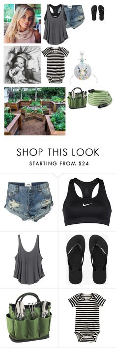 """""""In the veggie garden"""" by cleo-scott ❤ liked on Polyvore featuring OneTeaspoon, NIKE, RVCA, Havaianas, Picnic at Ascot, J.Crew, Fisher Price, Improvements, men's fashion and menswear"""