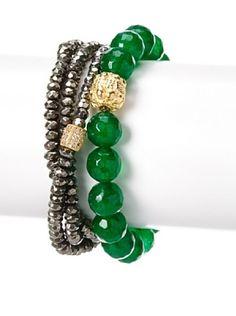 55% OFF Sisco + Berluti Pyrite Triple Wrap & Green Jade Bracelet Stack