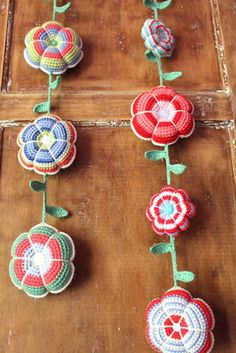 crochet flower garlands