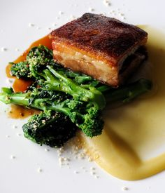 Pork belly has become a fixture on many menus over the last few years and its success can be put down to its intense, umami flavour and crispy crackling. Simon Hulstone's pork belly with apple recipe brings the best out of the cut, serving with a swoosh of apple purée and broccoli.