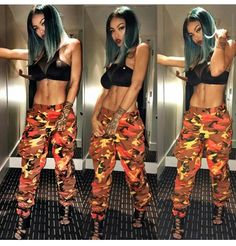 The way forward for the camo pants – easys. Orange Camo Pants, Camo Skinny Pants, Camouflage Jeans, Women's Camo, Classy Outfits, Cute Outfits, Camo Pants Outfit, Girl Swag, Fashion Killa