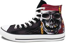 Mens Painted Shoes Converse All Star Skull Pirates High Fashion