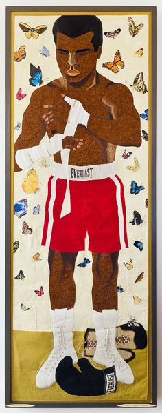 30.25″ x 80.25″ Fabric Appliqué and Embroidery. Artwork is framed behind glass. Limited Series.