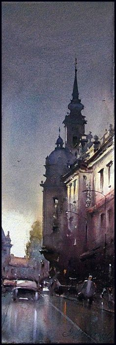 Dusan Djukaric After the rain, watercolor, 18x56 cm