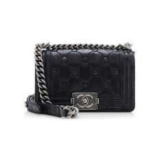 Rental Chanel Iridescent Calfskin Chesterfield Padding Small Boy Bag (3.870 NOK) ❤ liked on Polyvore