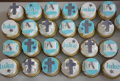 Baptism Cupcakes Dedication Ideas, Baby Dedication, Fondant Icing, Buttercream Frosting, Christening Cupcakes, Baby Boy Baptism, Cupcake Toppers, Cupcake Ideas, Cakes For Boys