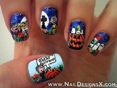 charlie brown nail art for halloween! so fun